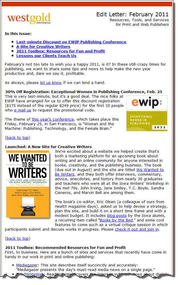 West Gold Editorial e-Newsletter