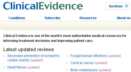 British Medical Journal's Clinical Evidence website