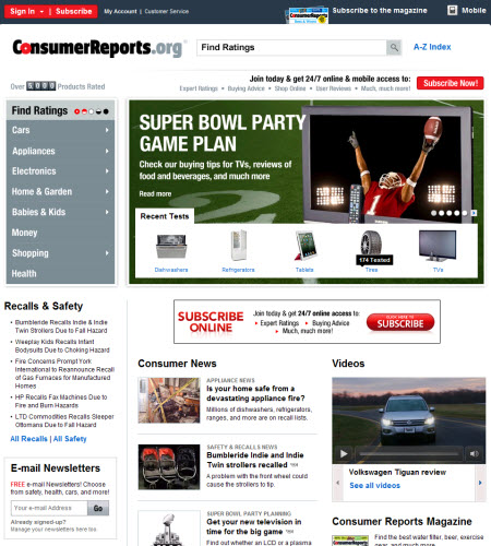 Consumer Guide Magazine: Portfolio / Consumer Reports: Web Publishing Workshops